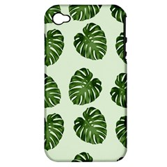 Leaf Pattern Seamless Background Apple Iphone 4/4s Hardshell Case (pc+silicone) by BangZart