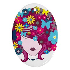 Beautiful Gothic Woman With Flowers And Butterflies Hair Clipart Ornament (oval) by BangZart