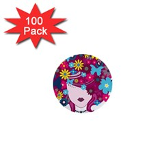 Beautiful Gothic Woman With Flowers And Butterflies Hair Clipart 1  Mini Buttons (100 Pack)