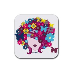 Beautiful Gothic Woman With Flowers And Butterflies Hair Clipart Rubber Square Coaster (4 Pack)