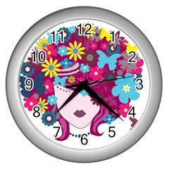 Beautiful Gothic Woman With Flowers And Butterflies Hair Clipart Wall Clocks (silver)  by BangZart