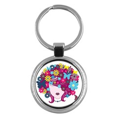 Beautiful Gothic Woman With Flowers And Butterflies Hair Clipart Key Chains (round)  by BangZart