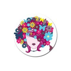 Beautiful Gothic Woman With Flowers And Butterflies Hair Clipart Magnet 3  (round) by BangZart