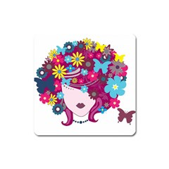 Beautiful Gothic Woman With Flowers And Butterflies Hair Clipart Square Magnet by BangZart