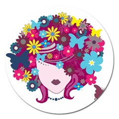 Beautiful Gothic Woman With Flowers And Butterflies Hair Clipart Magnet 5  (round) by BangZart