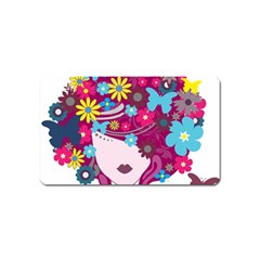 Beautiful Gothic Woman With Flowers And Butterflies Hair Clipart Magnet (name Card)