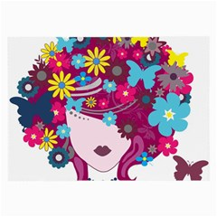 Beautiful Gothic Woman With Flowers And Butterflies Hair Clipart Large Glasses Cloth (2 Side)