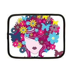 Beautiful Gothic Woman With Flowers And Butterflies Hair Clipart Netbook Case (small)  by BangZart