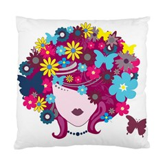 Beautiful Gothic Woman With Flowers And Butterflies Hair Clipart Standard Cushion Case (two Sides) by BangZart