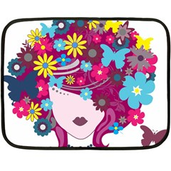 Beautiful Gothic Woman With Flowers And Butterflies Hair Clipart Fleece Blanket (mini) by BangZart