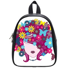 Beautiful Gothic Woman With Flowers And Butterflies Hair Clipart School Bags (small)  by BangZart