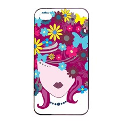 Beautiful Gothic Woman With Flowers And Butterflies Hair Clipart Apple Iphone 4/4s Seamless Case (black) by BangZart