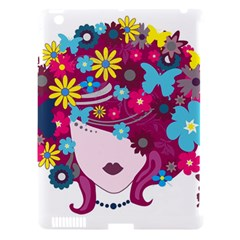 Beautiful Gothic Woman With Flowers And Butterflies Hair Clipart Apple Ipad 3/4 Hardshell Case (compatible With Smart Cover) by BangZart
