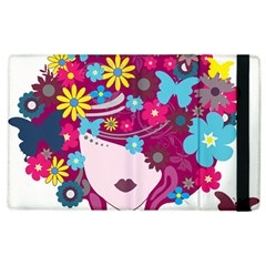 Beautiful Gothic Woman With Flowers And Butterflies Hair Clipart Apple Ipad 2 Flip Case by BangZart