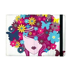 Beautiful Gothic Woman With Flowers And Butterflies Hair Clipart Apple Ipad Mini Flip Case by BangZart