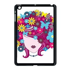 Beautiful Gothic Woman With Flowers And Butterflies Hair Clipart Apple Ipad Mini Case (black) by BangZart