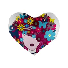 Beautiful Gothic Woman With Flowers And Butterflies Hair Clipart Standard 16  Premium Heart Shape Cushions