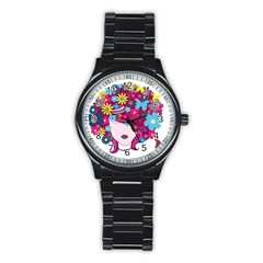 Beautiful Gothic Woman With Flowers And Butterflies Hair Clipart Stainless Steel Round Watch