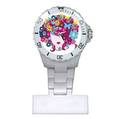 Beautiful Gothic Woman With Flowers And Butterflies Hair Clipart Plastic Nurses Watch by BangZart