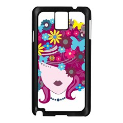 Beautiful Gothic Woman With Flowers And Butterflies Hair Clipart Samsung Galaxy Note 3 N9005 Case (black)