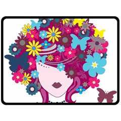 Beautiful Gothic Woman With Flowers And Butterflies Hair Clipart Double Sided Fleece Blanket (large)  by BangZart