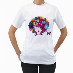 Beautiful Gothic Woman With Flowers And Butterflies Hair Clipart Women s T Shirt (white)
