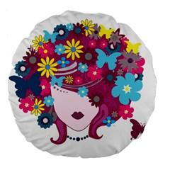 Beautiful Gothic Woman With Flowers And Butterflies Hair Clipart Large 18  Premium Flano Round Cushions by BangZart