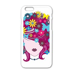 Beautiful Gothic Woman With Flowers And Butterflies Hair Clipart Apple Iphone 6/6s White Enamel Case by BangZart