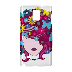 Beautiful Gothic Woman With Flowers And Butterflies Hair Clipart Samsung Galaxy Note 4 Hardshell Case by BangZart