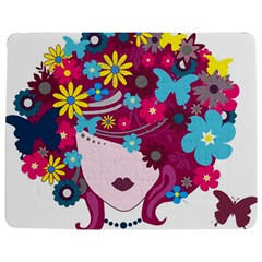 Beautiful Gothic Woman With Flowers And Butterflies Hair Clipart Jigsaw Puzzle Photo Stand (rectangular) by BangZart
