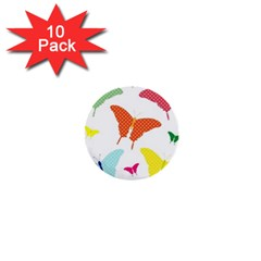 Beautiful Colorful Polka Dot Butterflies Clipart 1  Mini Buttons (10 Pack)  by BangZart