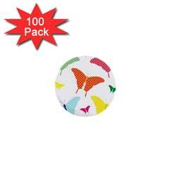 Beautiful Colorful Polka Dot Butterflies Clipart 1  Mini Buttons (100 Pack)