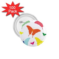 Beautiful Colorful Polka Dot Butterflies Clipart 1 75  Buttons (100 Pack)