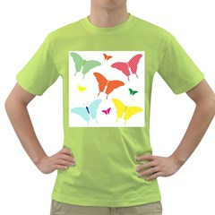 Beautiful Colorful Polka Dot Butterflies Clipart Green T Shirt