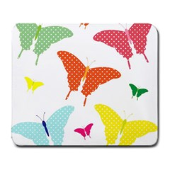 Beautiful Colorful Polka Dot Butterflies Clipart Large Mousepads by BangZart