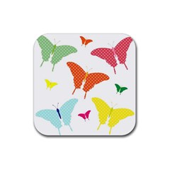 Beautiful Colorful Polka Dot Butterflies Clipart Rubber Square Coaster (4 Pack)  by BangZart