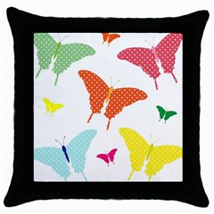 Beautiful Colorful Polka Dot Butterflies Clipart Throw Pillow Case (black) by BangZart