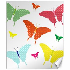 Beautiful Colorful Polka Dot Butterflies Clipart Canvas 8  X 10  by BangZart
