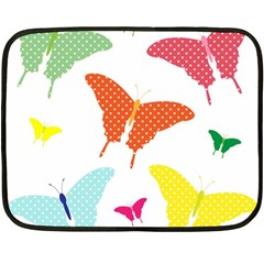 Beautiful Colorful Polka Dot Butterflies Clipart Double Sided Fleece Blanket (mini)