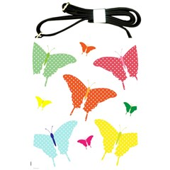 Beautiful Colorful Polka Dot Butterflies Clipart Shoulder Sling Bags by BangZart