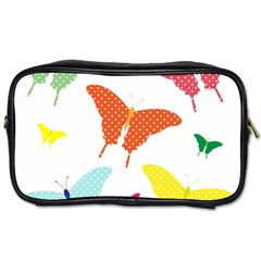 Beautiful Colorful Polka Dot Butterflies Clipart Toiletries Bags 2 Side by BangZart