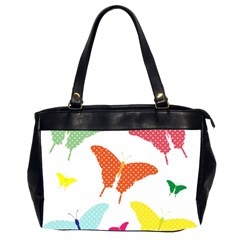 Beautiful Colorful Polka Dot Butterflies Clipart Office Handbags (2 Sides)  by BangZart