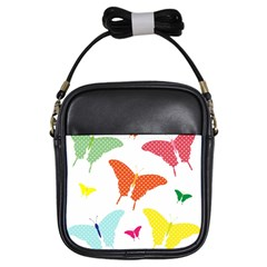 Beautiful Colorful Polka Dot Butterflies Clipart Girls Sling Bags by BangZart