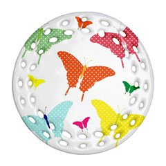 Beautiful Colorful Polka Dot Butterflies Clipart Round Filigree Ornament (two Sides)