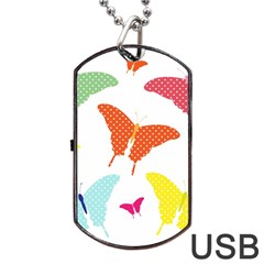 Beautiful Colorful Polka Dot Butterflies Clipart Dog Tag Usb Flash (one Side)