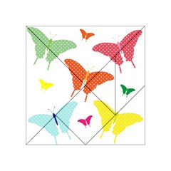 Beautiful Colorful Polka Dot Butterflies Clipart Acrylic Tangram Puzzle (4  X 4 )
