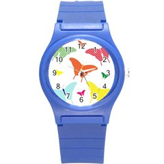 Beautiful Colorful Polka Dot Butterflies Clipart Round Plastic Sport Watch (s) by BangZart