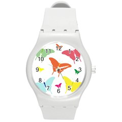 Beautiful Colorful Polka Dot Butterflies Clipart Round Plastic Sport Watch (m) by BangZart