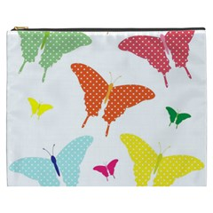 Beautiful Colorful Polka Dot Butterflies Clipart Cosmetic Bag (xxxl)  by BangZart
