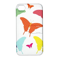 Beautiful Colorful Polka Dot Butterflies Clipart Apple Iphone 4/4s Hardshell Case With Stand